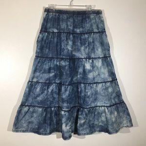 Chambray Marbled Denim Maxi Skirt - L